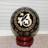 carving wood spirits - Natural obsidian crystal ball feng shui ornaments Lucky evil spirits block evil Bedford town house cm