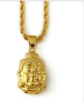 altın plaka zinciri toptan satış-Erkekler jewerly BUDDHA KOLYE Hip Hop Takı Erkekler Altın Zincir Kadınlar Için 18 k Altın Kaplama Zincir / Erkekler
