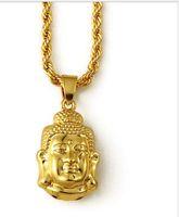 ingrosso catena di piastra d'oro buddha-uomini gioielli jewerly BUDDHA NECKLACE Hip Hop gioielli uomo catena d'oro 18k catena placcata oro per le donne / uomini