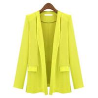 Wholesale Career Jackets - Women Blazer Lapel OL Career Long Suits Blazers Jacket Coats Outwears S-XL
