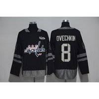 Capitals # 8 Ovechkin 100 Anniversary Black Hockey Unform Hommes Hockey Chemises Stitched Hockey Wears Cheap Wears