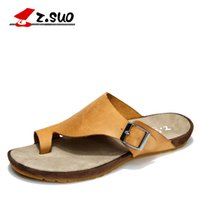 Wholesale Latex Bedding - Wholesale-Z.suo Brand Men's Summer Crazy Cow Leather Sandals Fashion Adjustable Buckle Clip Toe Breathable Comfortable Foot Bed Slippers