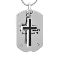 Wholesale Cremation Jewelry Cross - IJD9733 Stainless Steel Tag Necklace Cross Charm Ashes Keepsake Urn Cremation Pendant Necklace Keepsake Urn Jewelry