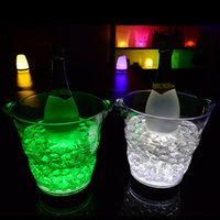 Wholesale Luminous Ice Bucket - Wave Shaped Ice Bucket LED ICE Bucket Champagne Party Bucket Ice Luminous Colors Lucky Buckets For Bars Decoration