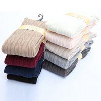 Wholesale Braided Hoses - Wholesale-New Woman Wool Braid Over Knee Socks Thigh Highs Hose Stockings Twist Warm Winter