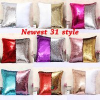 Wholesale New Mermaid Style - New Two-color Sequins Pillow Case Mermaid Pillow Covers Home Sofa Car Decor Cushion 31 Style Free Shipping 40*40cm Gifts HH-P03