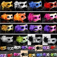 Wholesale sexy full faced masks for sale - Group buy Fashion Women Sexy masks Hallowmas Venetian eye mask masquerade masks with flower feather Easter mask dance holiday party mask I059