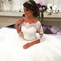 Wholesale Cheap Floral Sashes - Gorgeous Lace Ball Gown Wedding Dresses Elegant Sleeve Lace Bridal Gowns Arabic Tulle 2016 Cheap Plus Size Maternity Wedding Dresses