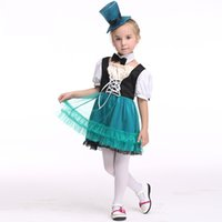 Wholesale Hats Wholes Sales - Kids Clothing Halloween Cosplay Children Girls Sets Dresses Bow Tie and Hat Hot Sale Kids Costumes