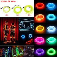 EL Wire 5M Flash Flexível Neon LED Light Glow EL Strip Tube Wire Rope Car Party Lights 2.3MM