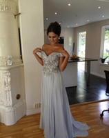 Wholesale Vintage Sequin Chiffon Maxi - Sparkly Sequin Crystal Prom Dresses Off the Shoulder Graduation Dress Beaded Evening Party Gowns Long Chiffon Gowns maxi dress pageant gowns