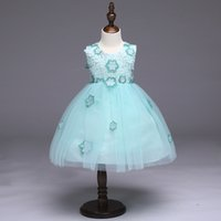 Wholesale Lolita Mint Dress - Baby Girl Party Tutu Dress Mint Green with Pink Rose Girl Flower Dress Birthday Wedding Tutu Dress For Baby Girl MSG083