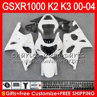 Wholesale Gsxr K2 - 8Gifts gloss white 23Colors For SUZUKI GSXR1000 00 01 02 03 04 K2 14HM4 GSXR-1000 GSX R1000 2000 2001 2002 K3 GSXR 1000 2003 2004 Fairing
