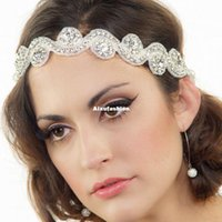 Wholesale Bridal Fashion Headpiece - 2017 New Fashion Rhinestone Tiaras Headband Glitter Hair Jewelry Women Wedding Hair Accessories Hairband Bridal Headwear Headpieces