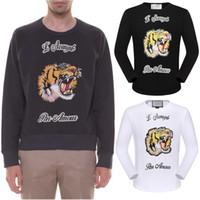 Wholesale Tiger Print Long Shirts Design - Tiger Embroidery Long T-shirt Men New Design Letter Applique Elasticity Cotton LS Tops Fashion Round Neck
