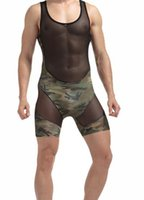 Wholesale Transparent Teddies - Men's sexy Transparent mesh fishnet Rompers Underwear Wrestling Singlet Jumpsuit Teddies GAY Underwear One-Piece Bodysuits