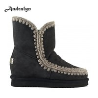 Wholesale Short Fur Wedge Boot - Andralyn Winter women sheepskin Eskimo wedge short zapatos mujer wedge 4.5cm snow boots top quality ankle boots women shoes