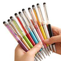 Wholesale Touch Ballpen - Creative Crystal Pen Diamond Ballpoint Pens Stationery Ballpen Stylus Pen Touch Pen 11 Colors Oily Black Refill 1.0mm