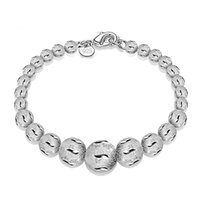 """Wholesale Wholesale Beaded Belly Chain - 925 Sterling Silver Plated Snake Belly Bracelet With 925 Tag Sand Beads Bracelet For Women Valentine Birthday Xmas Gift 7.5"""""""