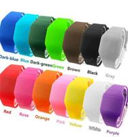 mens silikon dijital saat toptan satış-LED Silikon Erkek Plastik Kauçuk Ultra-Ince Dokunmatik Led Spor İzle Bilek İzle Elektronik Dijital Jöle Şeker Unisex Erkekler Kadınlar Hediye Saatler