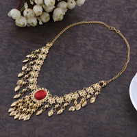 Wholesale Belly Dance Jewelry Gold - Sexy Women`s Belly Dance Necklace Alloy With Gems Clavicle Chain 5 Colors Indian Dance Performance Props Jewelry Accessory Wholesale
