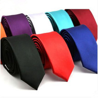 Wholesale Men S Silk Skinny Ties - Tie men spot 5cm solid skinny tie business casual smooth tie factory wholesale