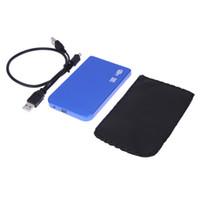 boîtes de rangement hd achat en gros de-USB 2.0 SATA pouce HD HDD Boîtier de disque dur Boîtier En Alliage D'aluminium Couleur Bleu 1 To Boîte De Stockage Externe Pour PC En Gros