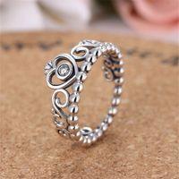 Wholesale Tiara Shaped Rings - Valentine's Day Gift Genuine Elegant Princess Tiara Charms Ring Crown Love Heart-shaped Zircon Crystal RingMM