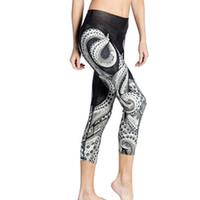 Wholesale Digital Printed Satin - The New Women European And American Yoga Pants 3D Octopus Digital Printing Quick-dry High Waist Leggings Running Fitness Capri Pants