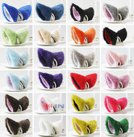 Wholesale Party s Cat Fox Long Fur Ears Anime Costume Hair Clip Cosplay Ears Colors