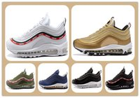 Wholesale Cheap Flat Red Boots - Cheap Running Shoes Max 97 OG Metallic Gold Silver Bullet Running Shoes with Box Men trainers Women Sneaker Free shipping sports shoes boots