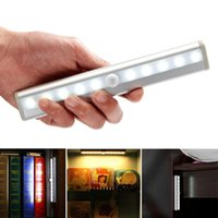Wholesale led battery motion - Led Light Wireless Motion Sensor 10LED Night Light Wall Light White Hot Lamp Powered By Battery For Stairs Bedroom Cabinet Cupboard
