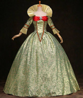 Wholesale Century Length - Custom 2015 Green Printed Marie Antoinette Dress 17th 18th Century Queen Victorian Lolita dress