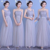 Wholesale Mix Order Purple Bridesmaid Dresses - Lace Tulle Long Bridesmaid Dresses Lace Up 2018 New Wedding Party Dresses Elegant Formal Dresses 4 Style Mixed Order