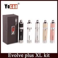 Wholesale Huge Silicon - Yocan Evolve Plus XL Starter Kit Wax Vaporizer Pen 1400mah battery Vape Dab Pen Kits with Silicon Jar Quad Quartz Coil Huge Vapor