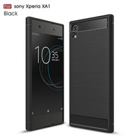 Wholesale Xperia Protective Cover - Carbon Fiber Case for Sony Xperia XZ Premium XZS XA1 Ultra Rugged Hybrid Armor Cover Soft TPU Shockproof Protective Mobile Phone Bags