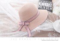 ingrosso cappello della donna nodo-Cappellini da sole da donna con fiocco in paglia Cappello da spiaggia Cappello di Panama Cappelli estivi per donna Cappello di paglia Snapback Gorras