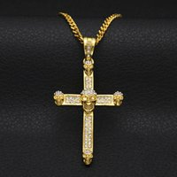 gothic crosses 2018 - Personality Men Hiphop Necklace Fashion Jewelry AAA Crystal Skull Cross Pendants Necklaces Chokers Gothic Punk Party Gifts for Men NL-394