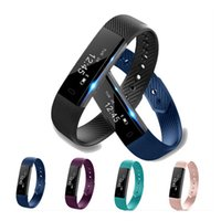 Wholesale Home Alarms Monitoring - ID115 Smart Bracelet Fitness tracker Pedometer Activity Monitor Message reminder Alarm Clock Vibration Wristband For IOS & Android Cellphone