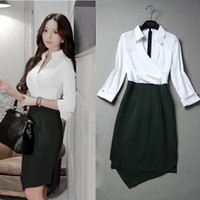 Wholesale Clubbing Girl Korean - Wholesale- New Korean Spring Autumn Women Office Work Dress Asymmetrical Turn-down Collar Patchwork High Waist Dresses Plus Size For Girls