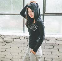 Wholesale Yoga Jacket Xl - Sports fitness running fitness running jacket cotton casual yoga long sleeve hooded hoodie