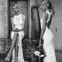Wholesale Keyhole Front Wedding Dress - Full Lace Mermaid Beach Country Wedding Dresses Halter Keyhole Sleeveless Aribic Cheap Split Backless Bridal Gowns vestidos de novia 2016
