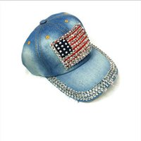 gorra de beisbol decoracion al por mayor-Decoraciones para fiestas Denim Diamond USA Diseño de la bandera de la nación Gorra de béisbol Sombrero de Hip Hop Sombreros de Jean Sombrero ajustable Gorras de moda Sombrero de béisbol curvado