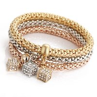 Wholesale Dice Bracelets - 3pcs Set Austrian Rhinestones Dice Charm Bracelets Trendy Gold Silver Rose Elastic Popcorn Chain Bangle Bracelet Jewelry For Women