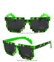 Wholesale Minecraft Bags - 5 Color Square Hippie Pixel Sunglasses Black Green Woman Mens Fashion Mosaic Sun Glasses Minecraft Glasses With Bag Wholesale Factory Price