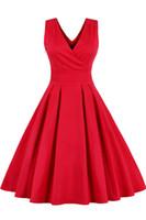 vestido rockabilly vermelho venda por atacado-New Red Vintage Retro Vestido De Verão Audrey Hepburn Swing Festa À Noite Dos Anos 60 Vestido Vintage Pin Up 1950s Rockabilly Vestidos