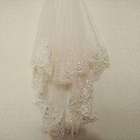 Wholesale Lace Bling Rhinestones - 2018 Hot Sparkly White Ivory Wedding Veil New Lace Bling Appliques Bridal Veil Soft Tulle Fashion Real Picture Wedding Accessories CPA860