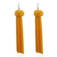 Wholesale rope earrings - Fashion Braided Rope Knot Long Tassel Earrings For Women Bohemian Handmade Dangle Drop Earring Fringed Boho Jewelry Wholesale