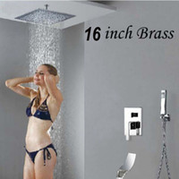 "Wholesale Valve Hand - Ceiling Mounted 16"" Rain Shower Head Valve Mixer Tap Waterfall Spout Hand Showe"