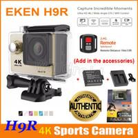 ingrosso dv telecamera remota-Fotocamera Action originale EKEN H9 H9R 4K + Batteria supplementare + Caricatore dock + Telecomando HDMI Wifi impermeabile Sport DV 1080P 60fps 170 gradi 5